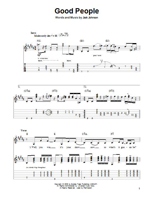 Tablature guitare Good People de Jack Johnson - Tablature Guitare