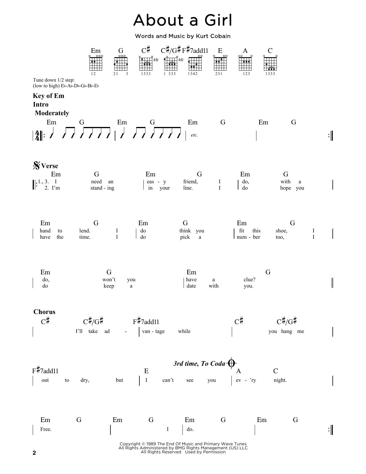 Partition autre About A Girl de Nirvana - Tablature Guitare Lead