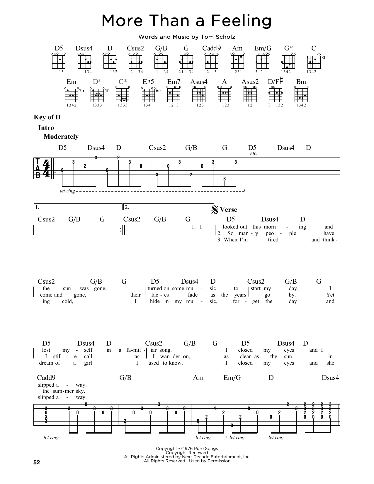 Partition autre More Than A Feeling de Boston - Tablature Guitare Lead