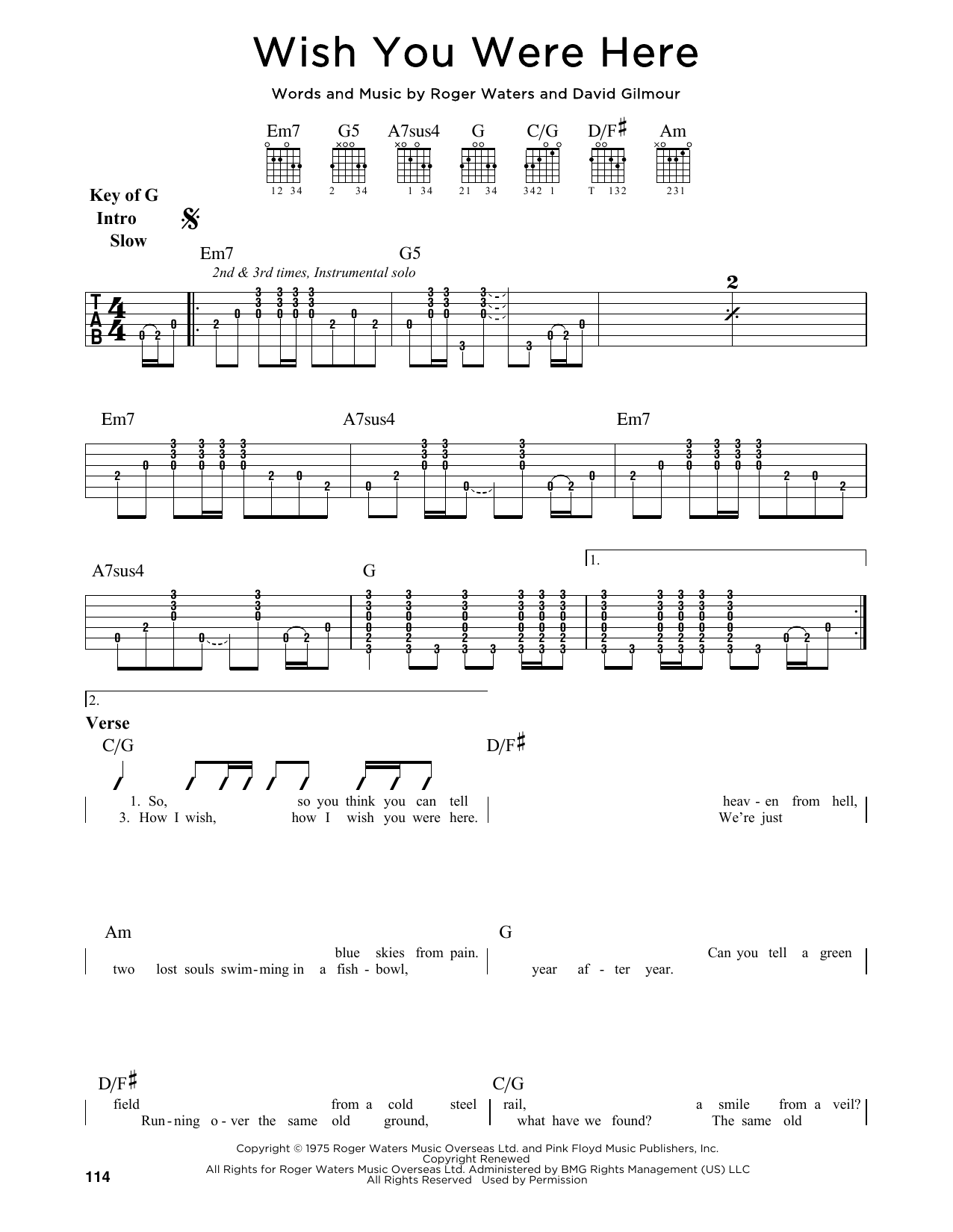 Wish You Were Here by Pink Floyd - Guitar Lead Sheet - Guitar Instructor