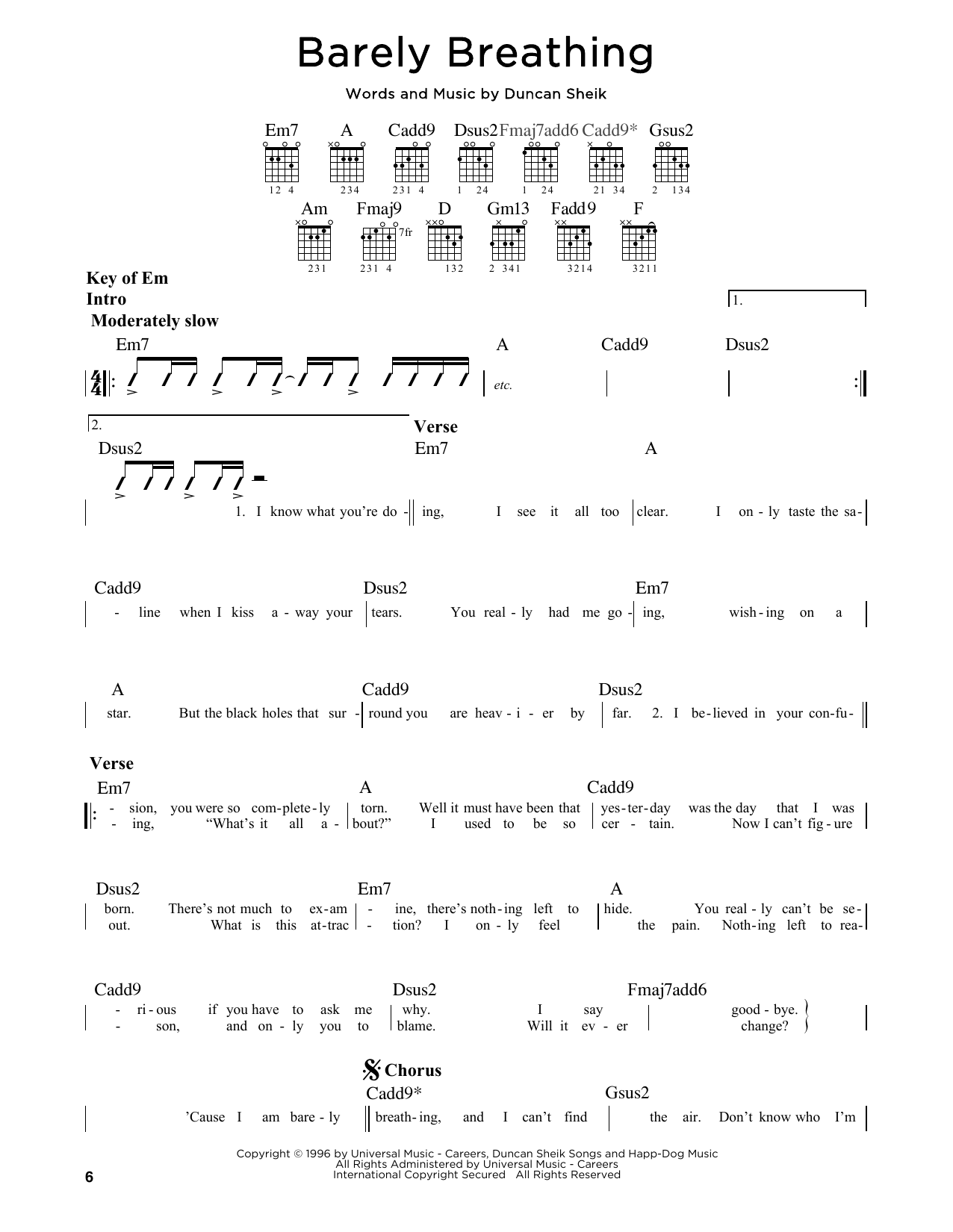 Partition autre Barely Breathing de Duncan Sheik - Tablature Guitare Lead