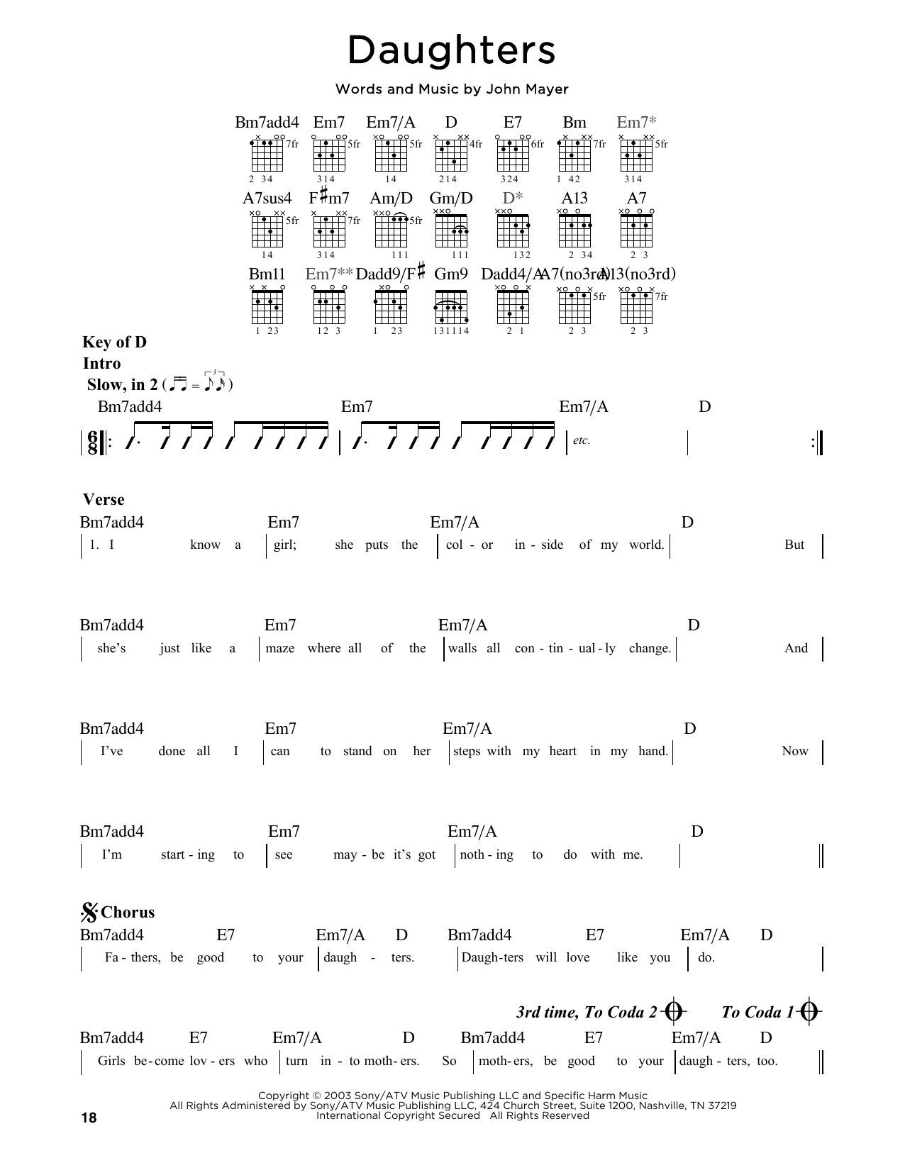 Partition autre Daughters de John Mayer - Tablature Guitare Lead