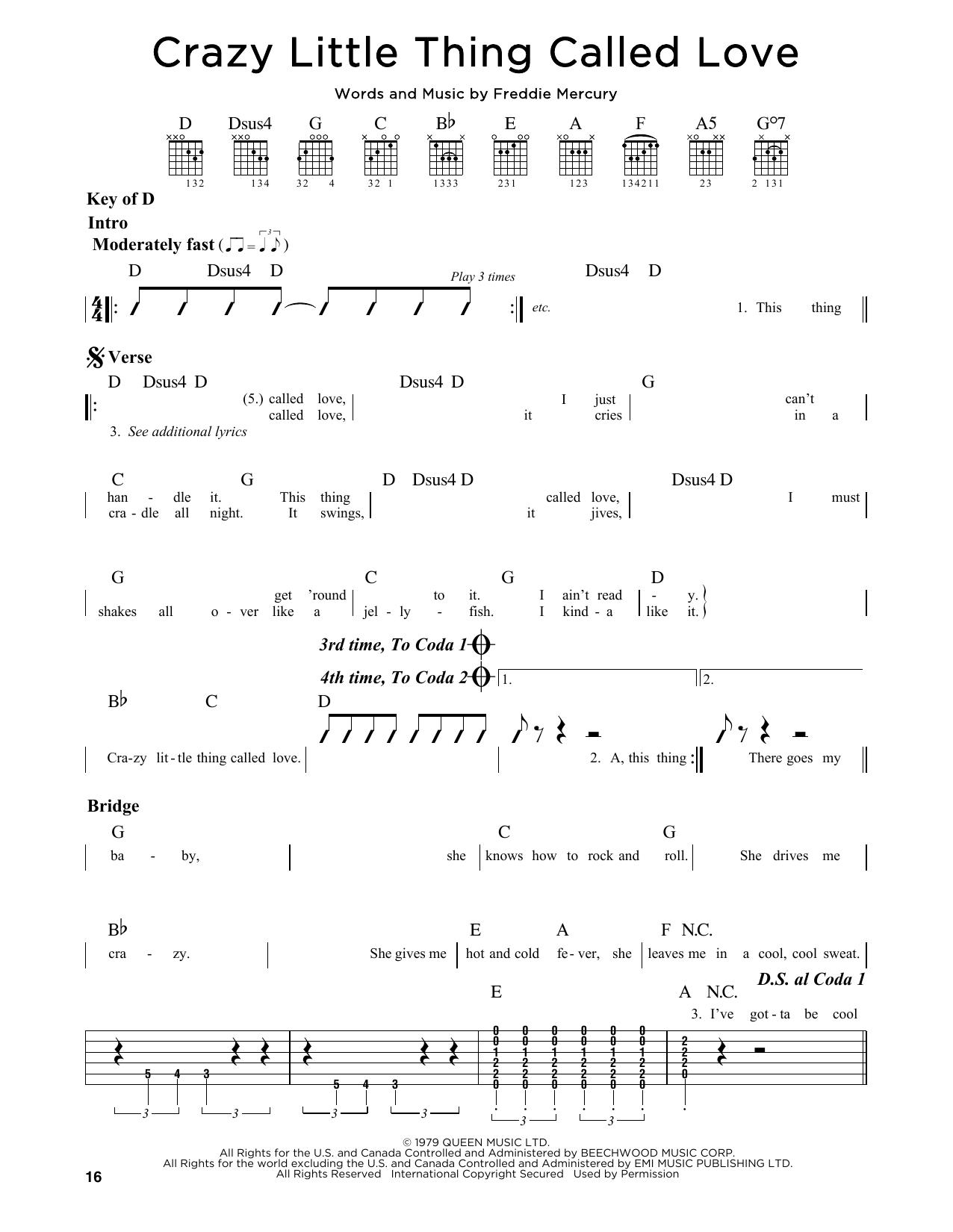 Partition autre Crazy Little Thing Called Love de Queen - Tablature Guitare Lead