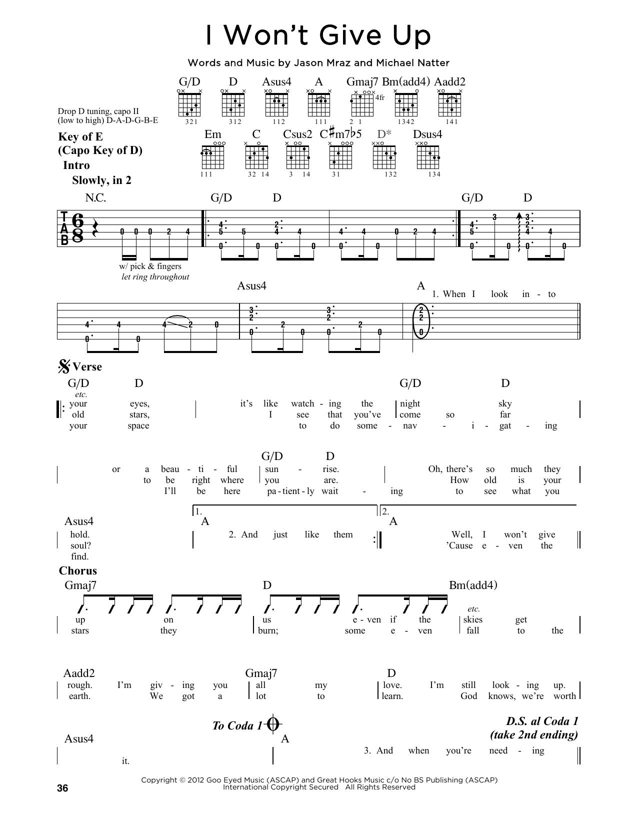 Partition autre I Won't Give Up de Jason Mraz - Tablature Guitare Lead