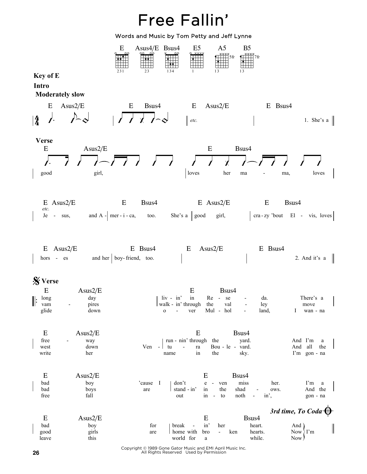 Partition autre Free Fallin' de Tom Petty - Tablature Guitare Lead