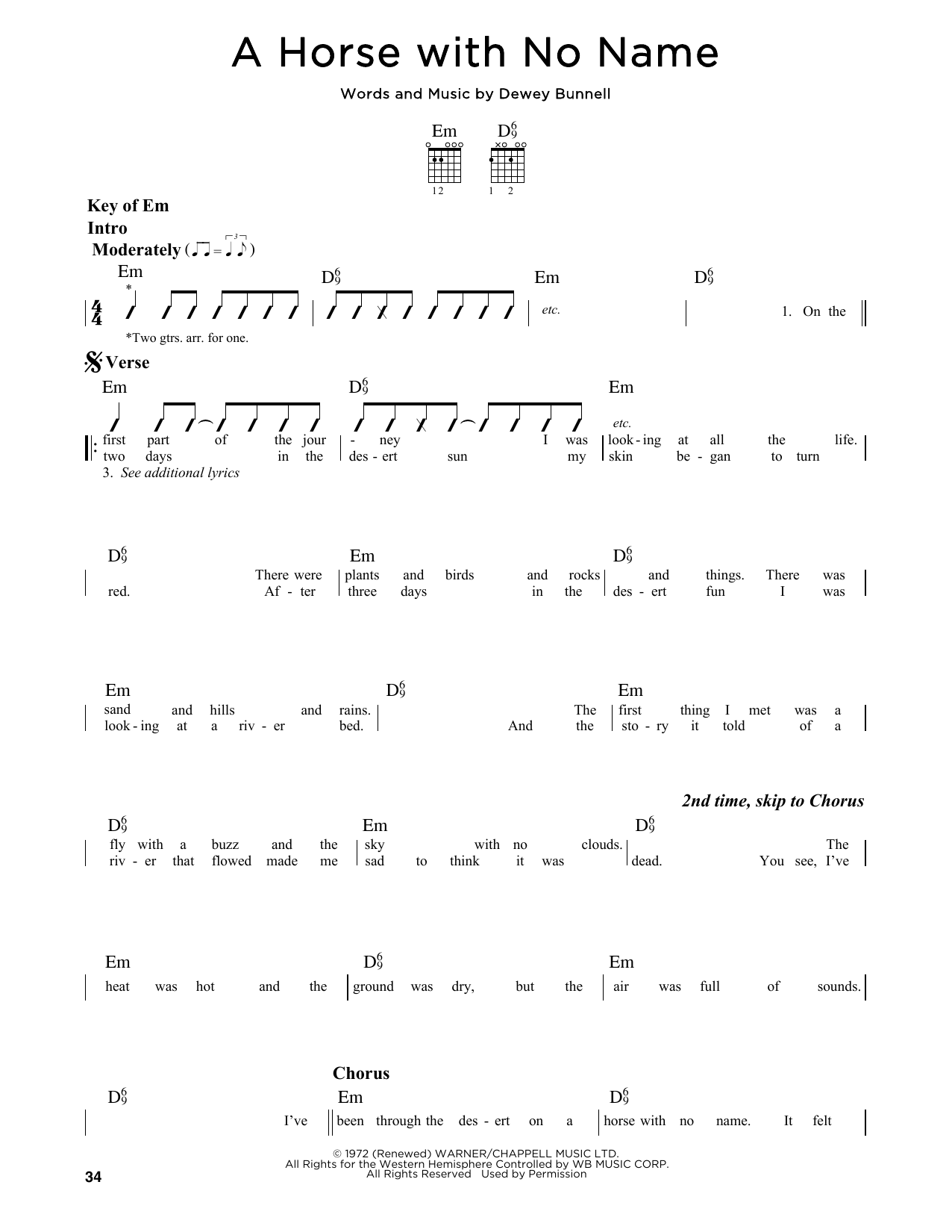 Partition autre A Horse With No Name de America - Tablature Guitare Lead