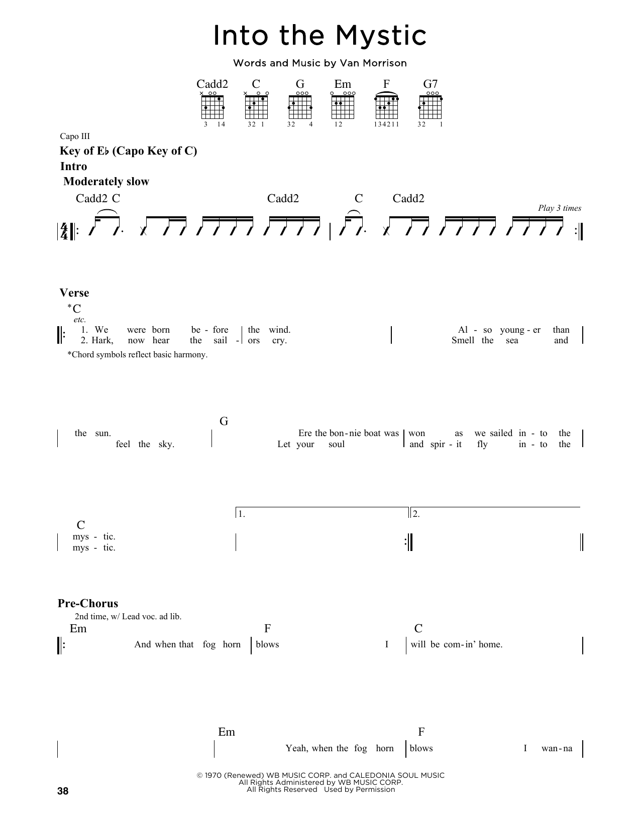 Partition autre Into The Mystic de Van Morrison - Tablature Guitare Lead