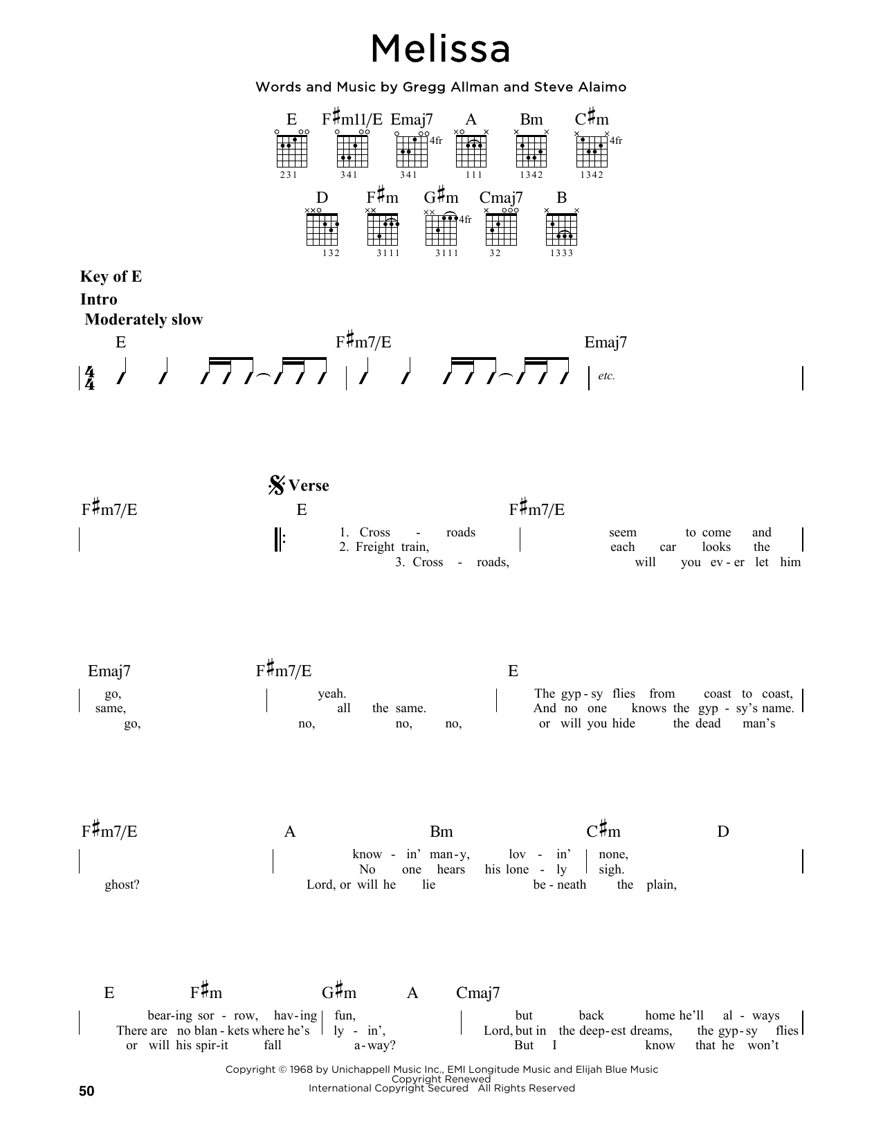 Partition autre Melissa de Allman Brothers - Tablature Guitare Lead