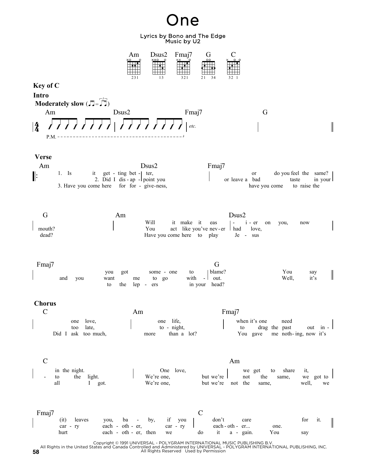 Partition autre One de U2 - Tablature Guitare Lead