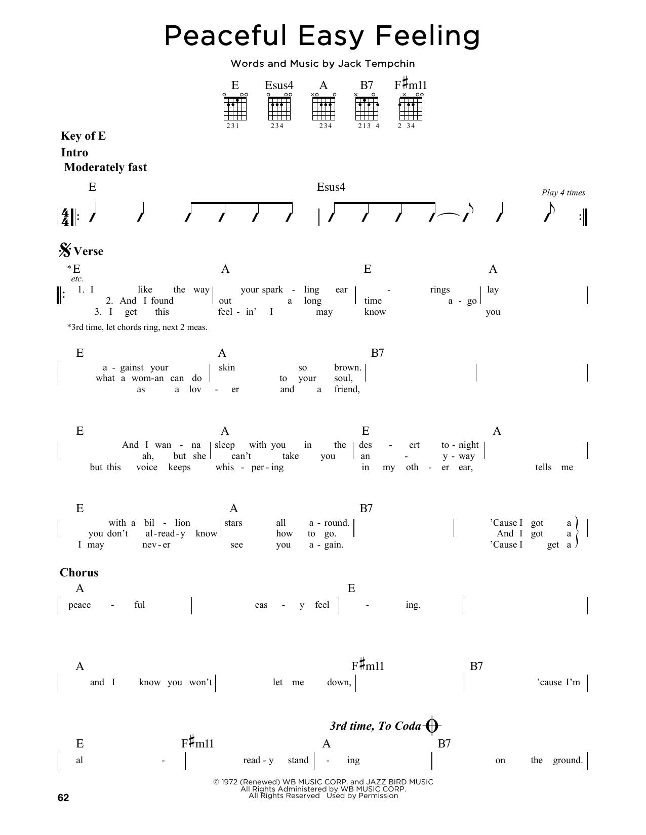 Partition autre Peaceful Easy Feeling de Eagles - Tablature Guitare Lead