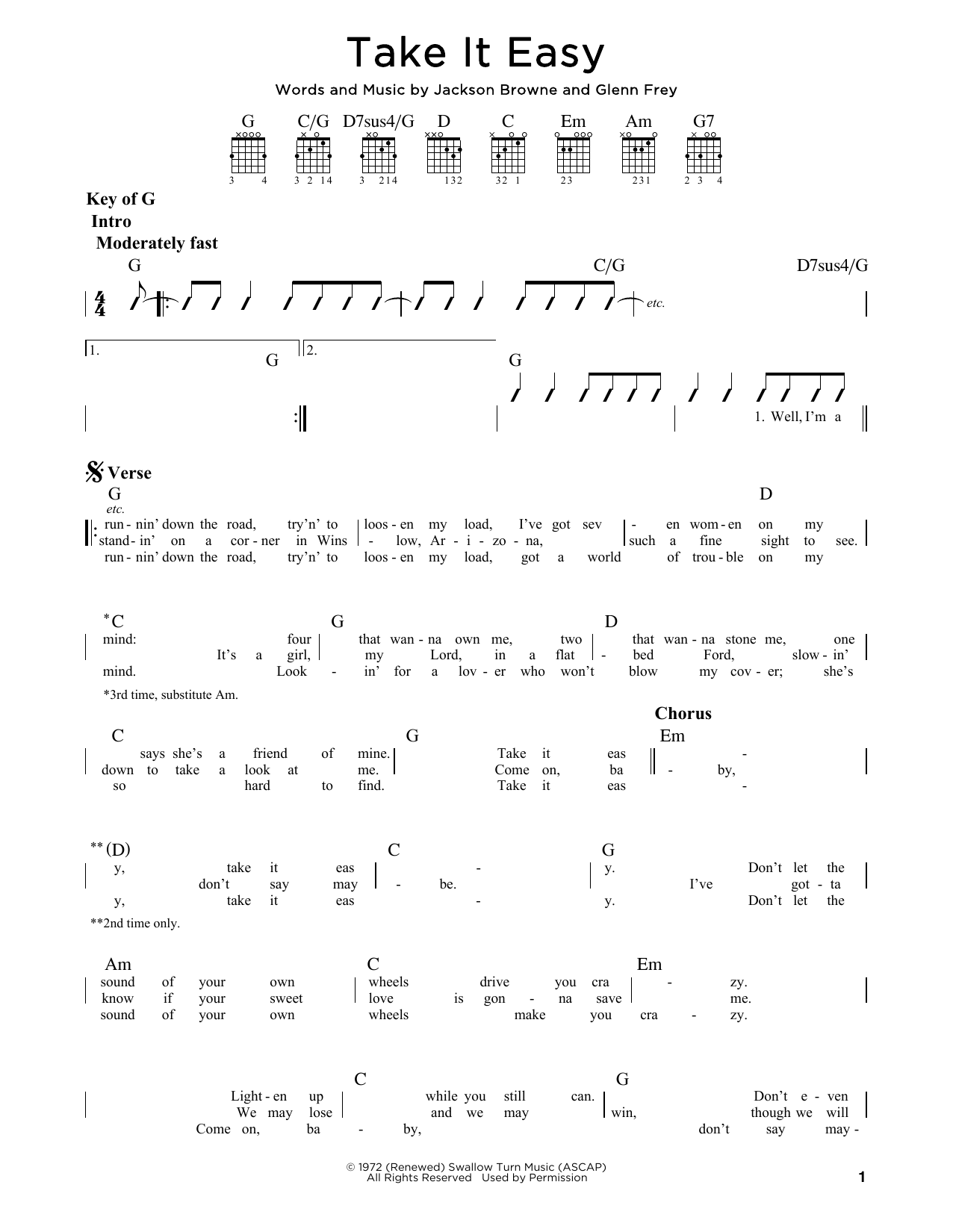 Partition autre Take It Easy de Eagles - Tablature Guitare Lead