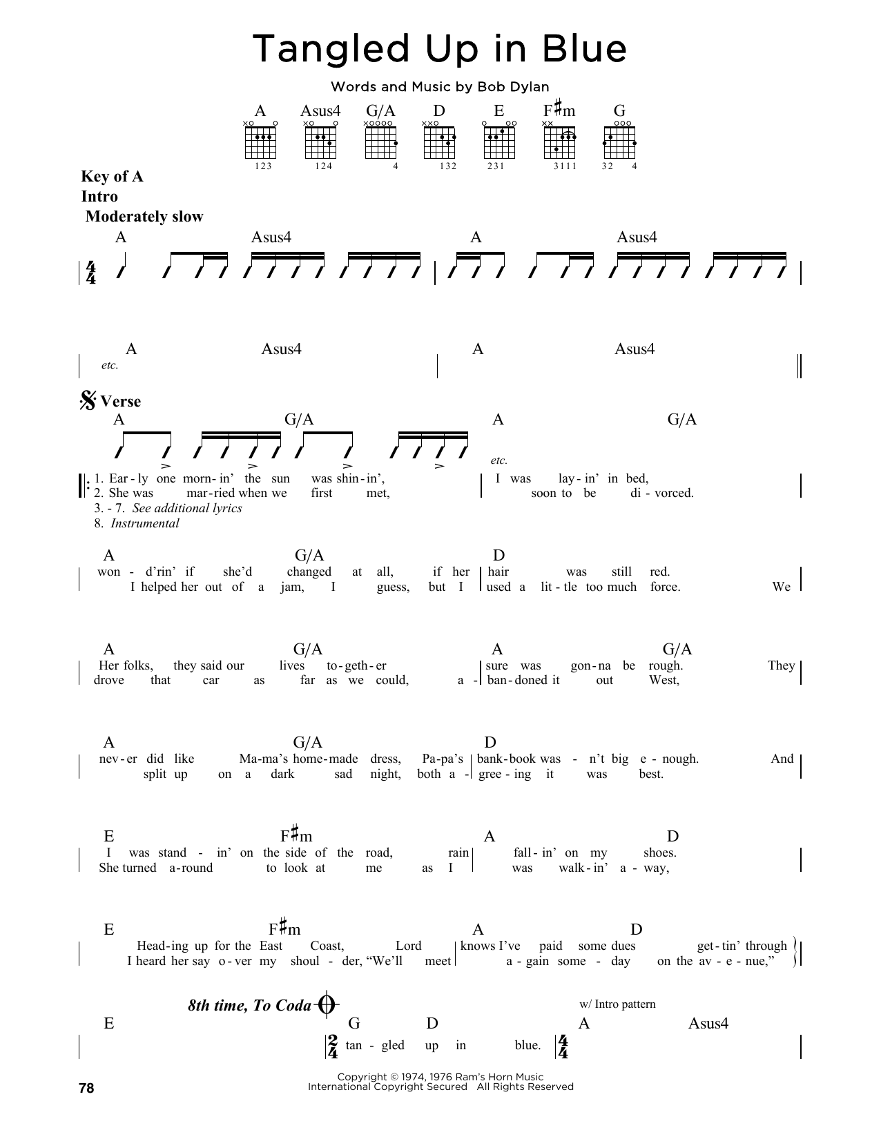 Partition autre Tangled Up In Blue de Bob Dylan - Tablature Guitare Lead
