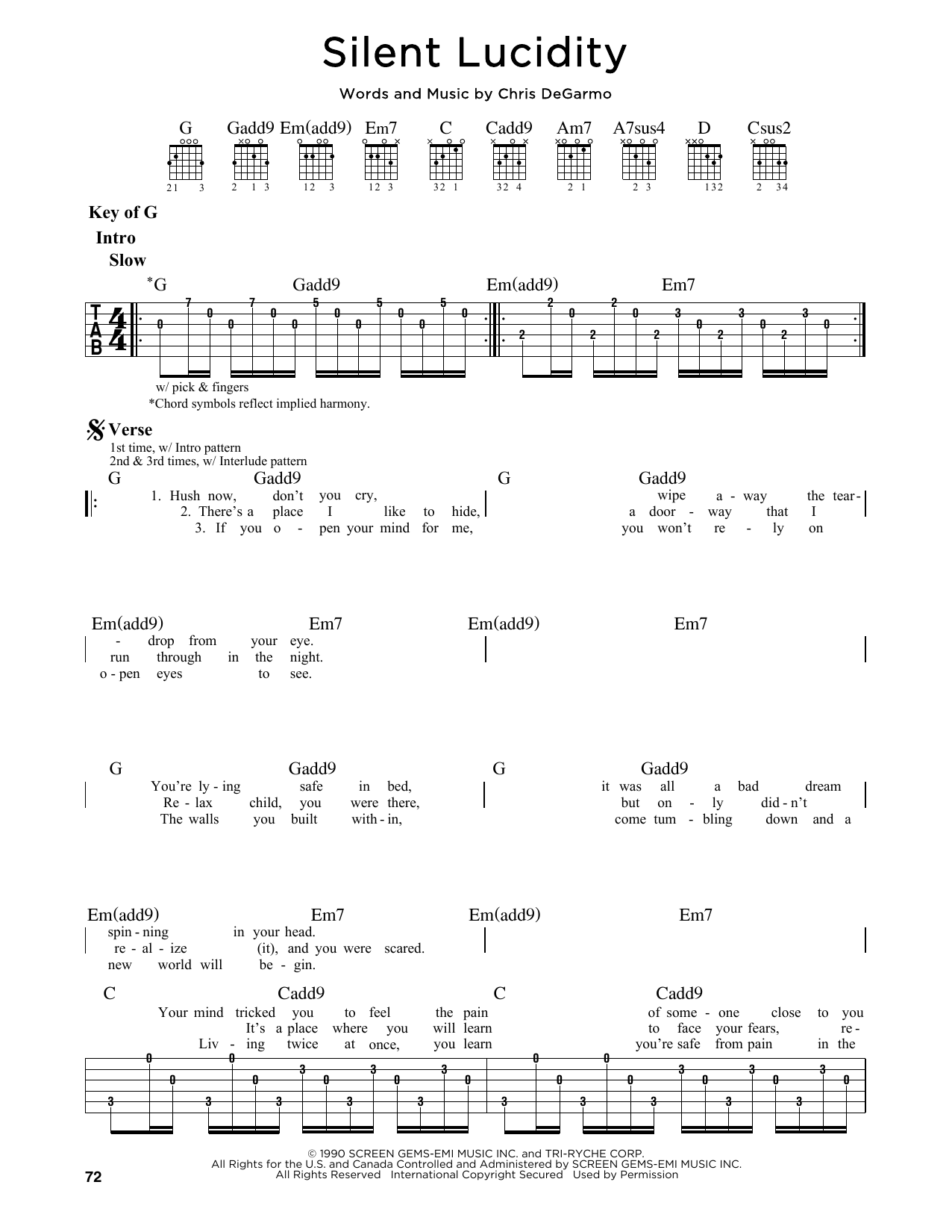 Partition autre Silent Lucidity de Queensryche - Tablature Guitare Lead