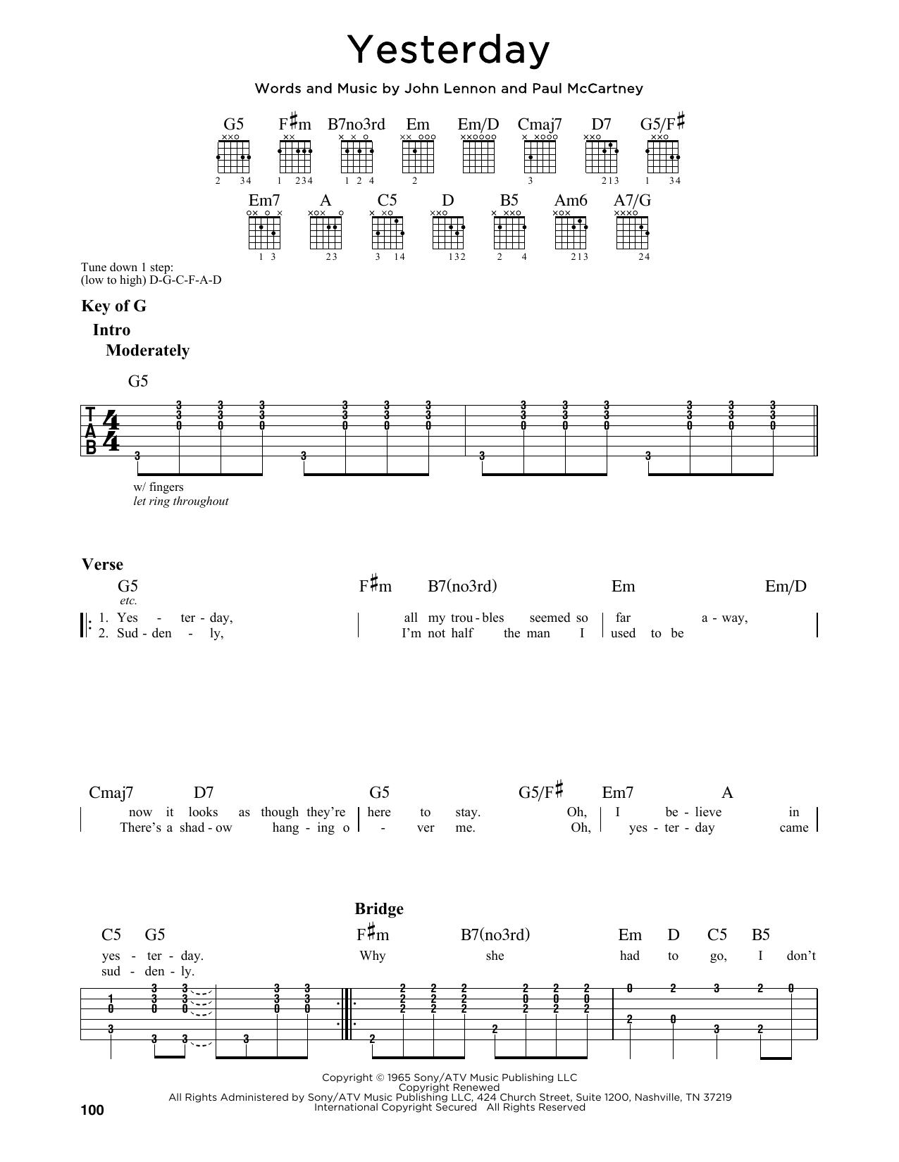 Partition autre Yesterday de The Beatles - Tablature Guitare Lead