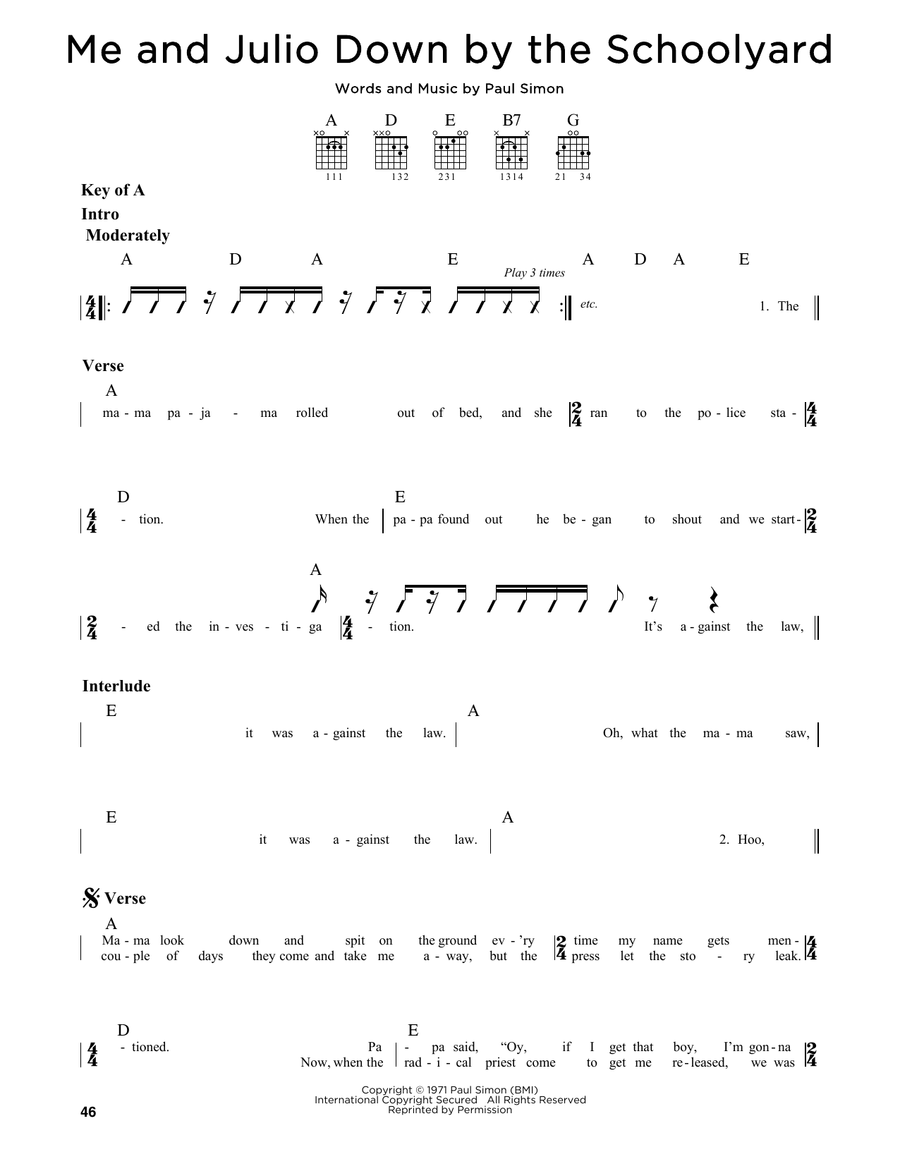 Partition autre Me and Julio Down By The Schoolyard de Simon & Garfunkel - Tablature Guitare Lead