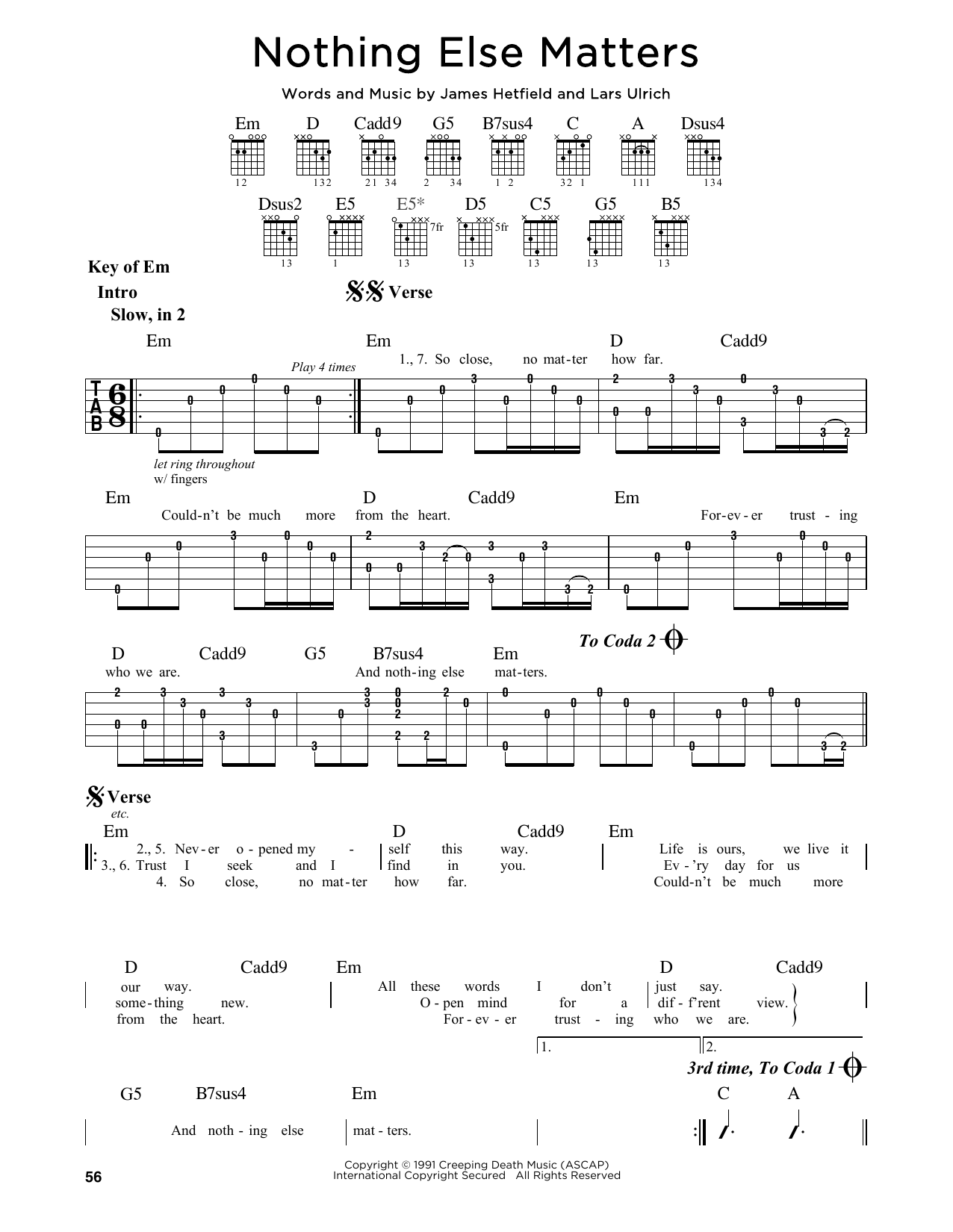 Partition autre Nothing Else Matters de Metallica - Tablature Guitare Lead