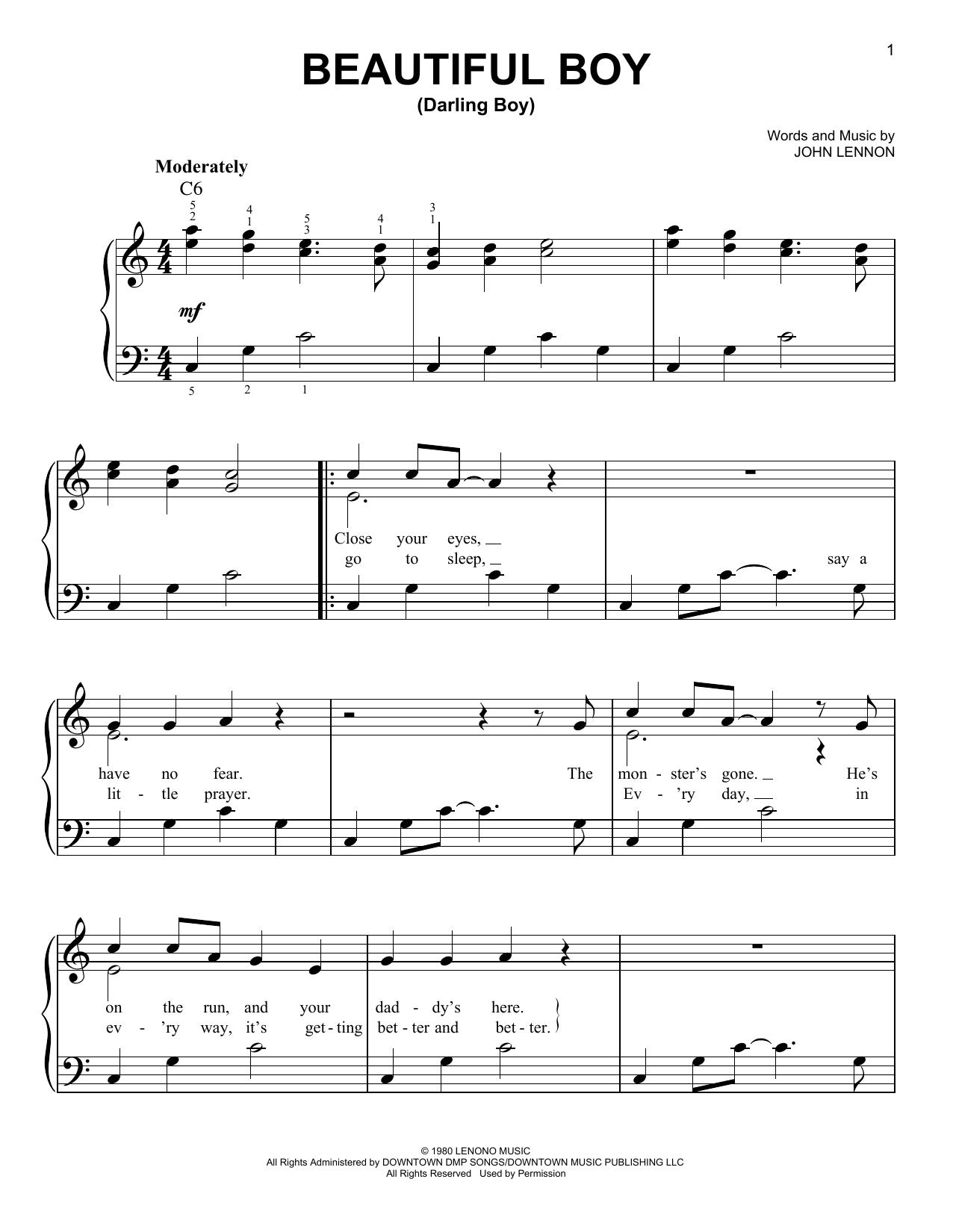 Partition piano Beautiful Boy (Darling Boy) de John Lennon - Piano Facile