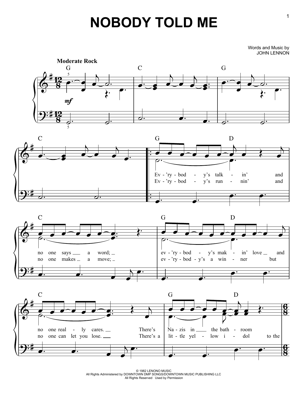 Partition piano Nobody Told Me de John Lennon - Piano Facile