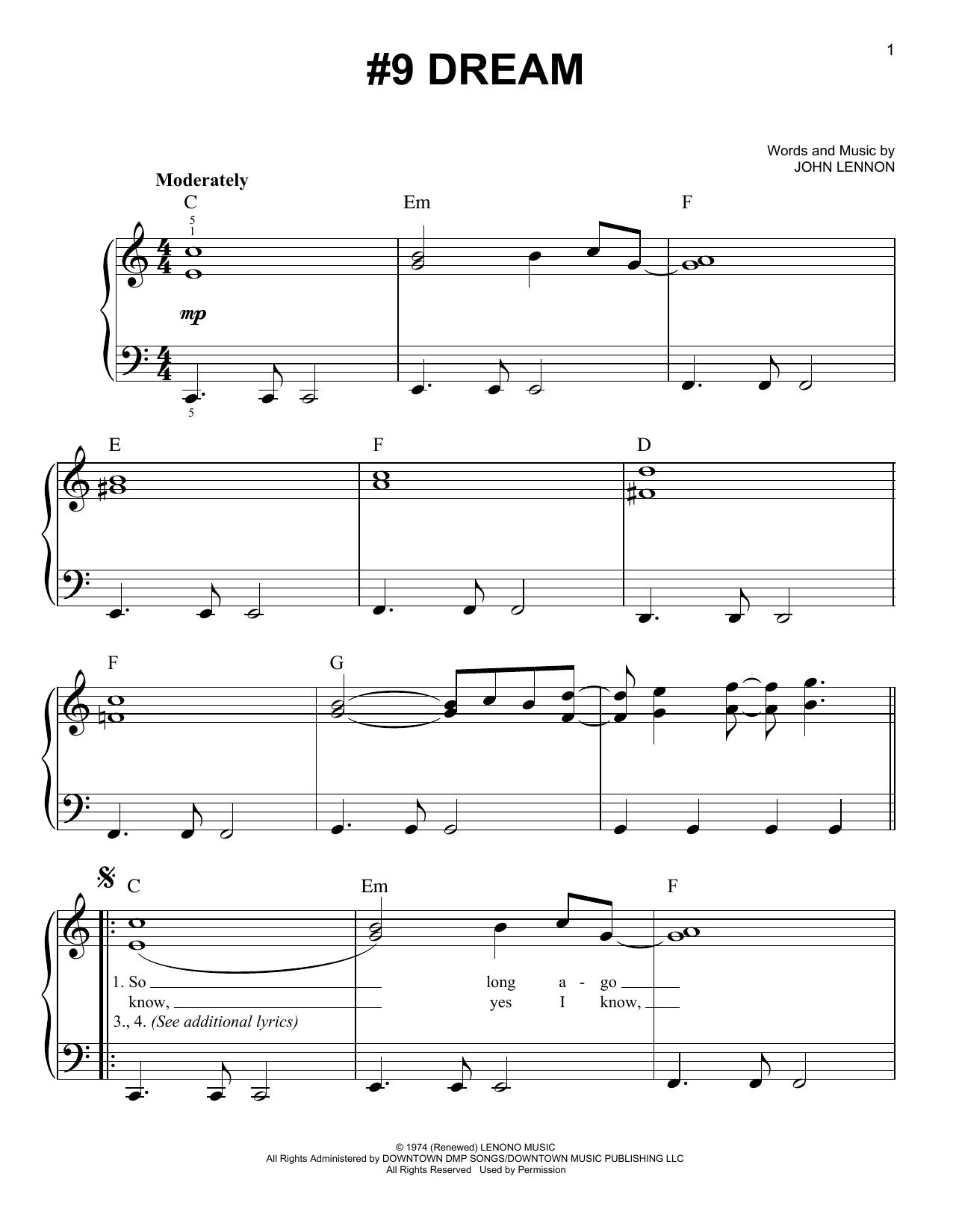 Partition piano #9 Dream de John Lennon - Piano Facile