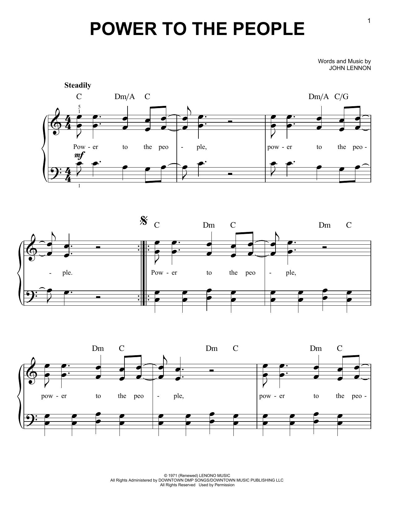 Partition piano Power To The People de John Lennon - Piano Facile