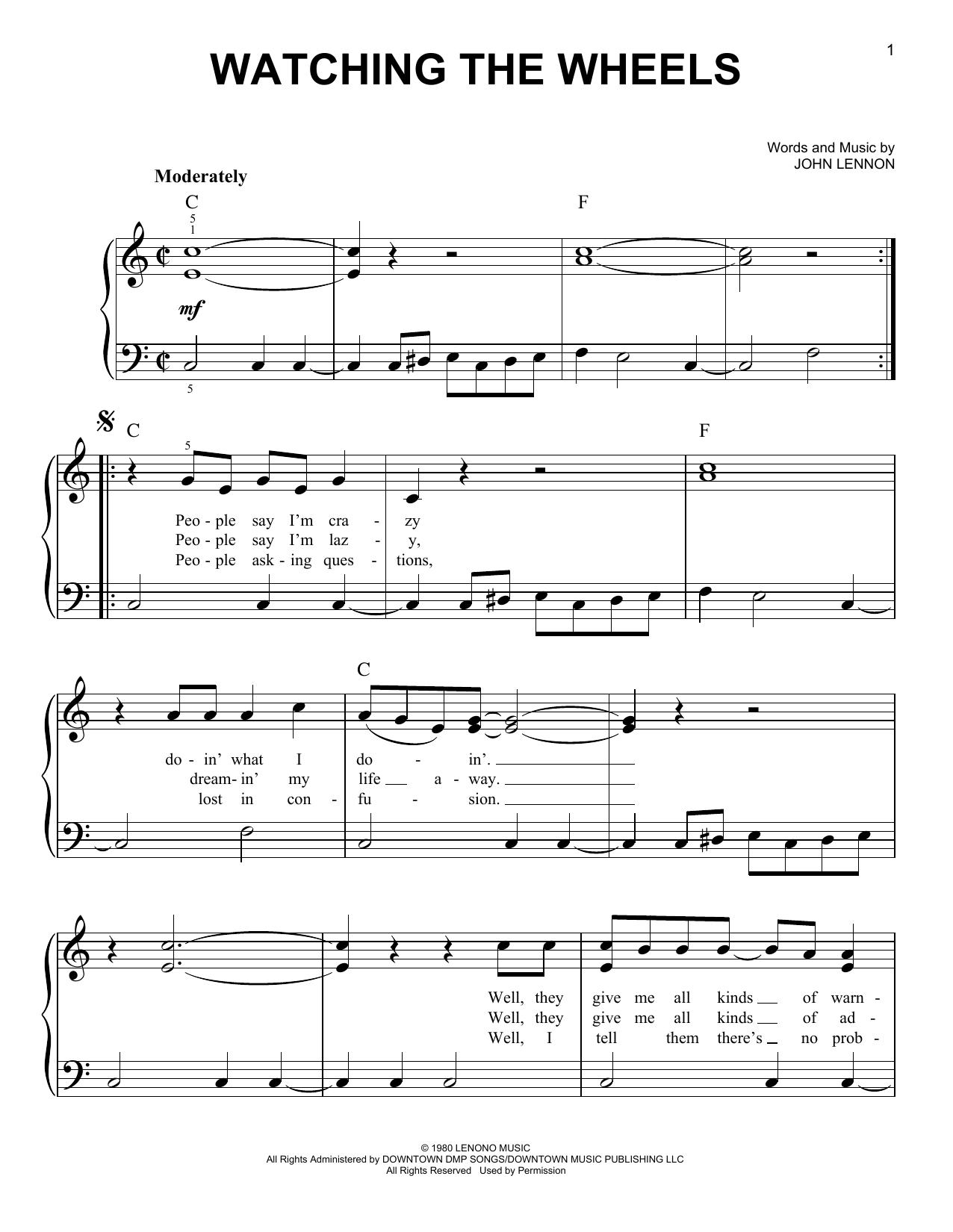 Partition piano Watching The Wheels de John Lennon - Piano Facile