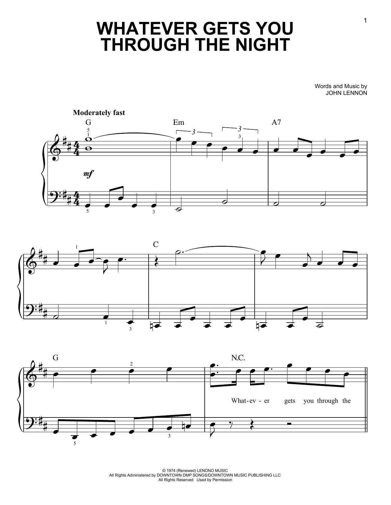 Partition piano Whatever Gets You Through The Night de John Lennon - Piano Facile