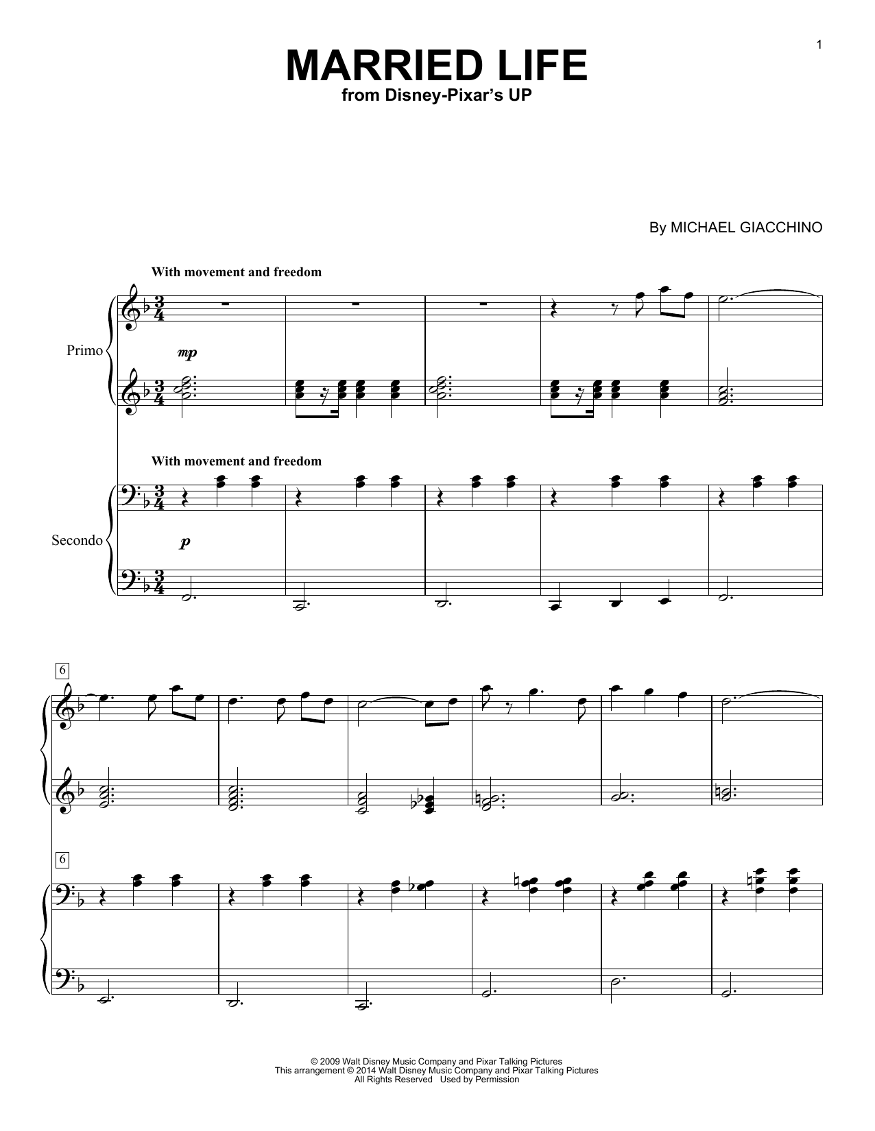Partition piano Married Life de Michael Giacchino - 4 mains
