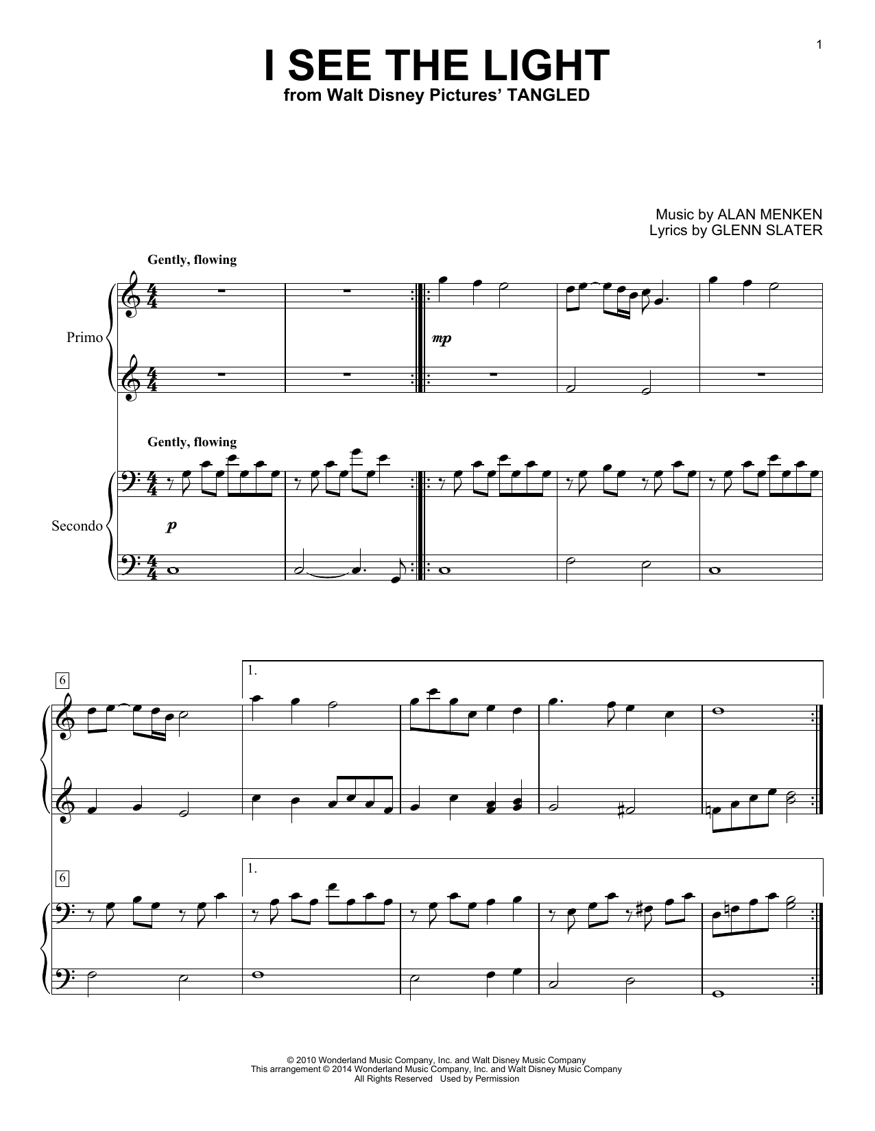 Partition piano I See The Light de Alan Menken - 4 mains