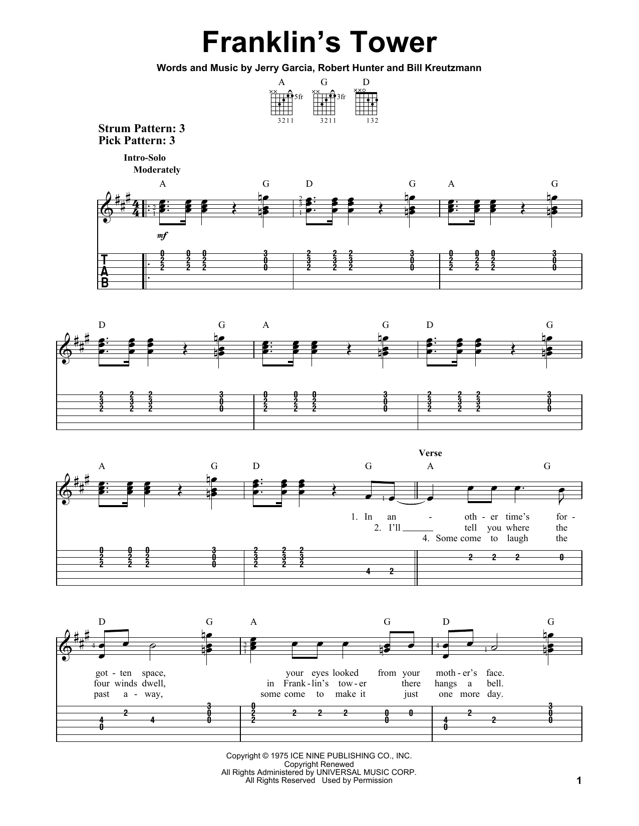 Franklin's Tower sheet music for guitar solo (easy tablature) by Robert Hunter