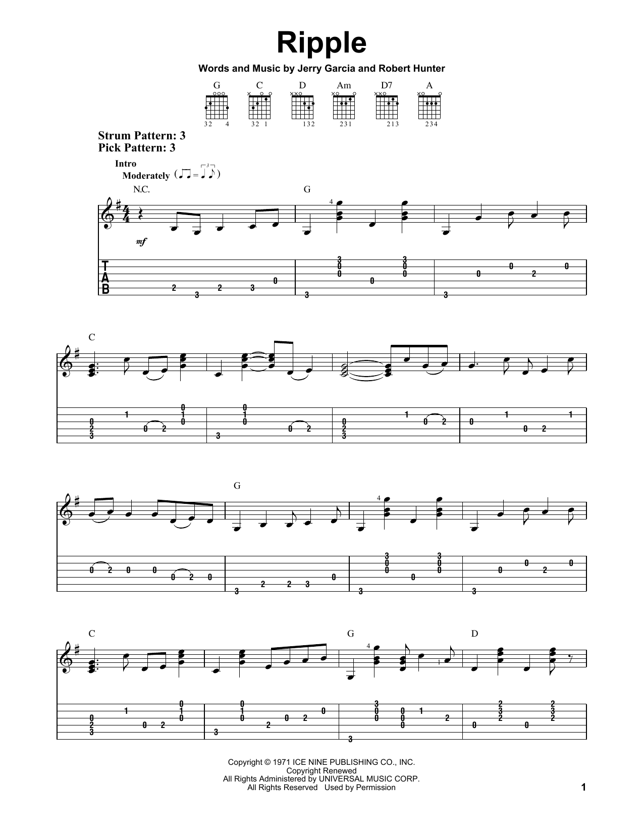 Tablature guitare Ripple de Grateful Dead - Tablature guitare facile