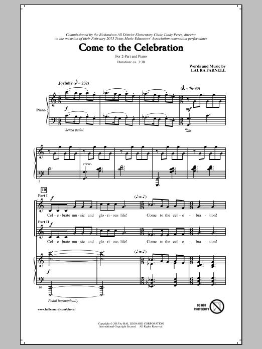 Partition chorale Come To The Celebration de Laura Farnell - 2 voix