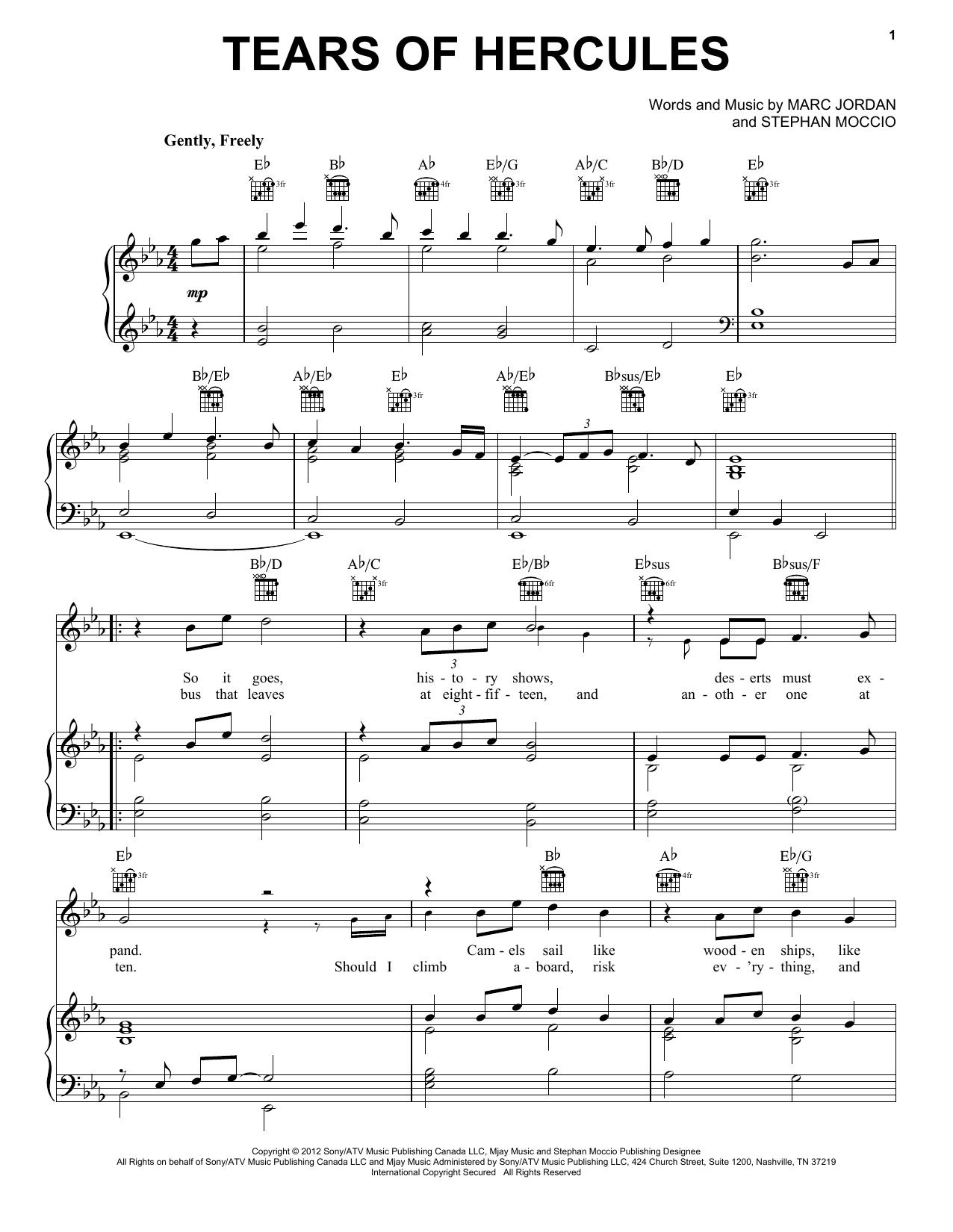 Partition piano Tears Of Hercules de Celtic Thunder - Piano Voix Guitare (Mélodie Main Droite)