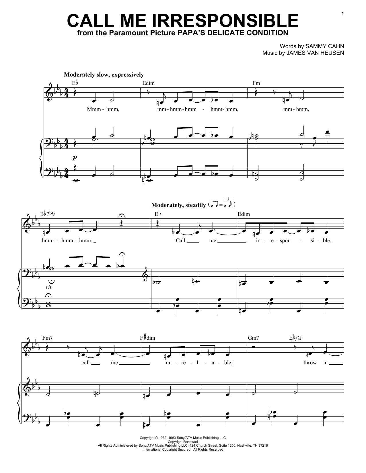 Partition piano Call Me Irresponsible de Frank Sinatra - Piano Voix