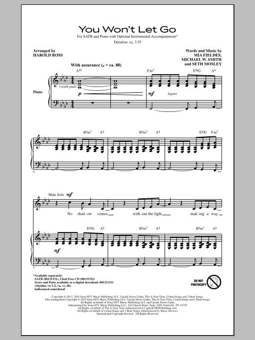 Partition chorale You Won't Let Go (arr. Harold Ross) de Michael W. Smith - SATB