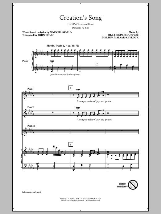 Partition chorale Creation's Song de  - 3 voix egales