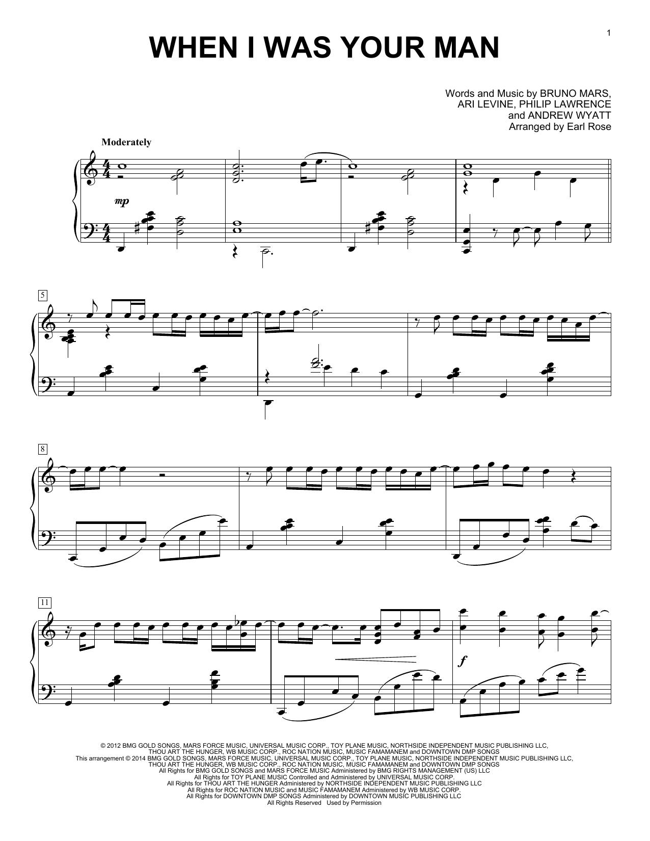 Partition piano When I Was Your Man de Bruno Mars - Piano Solo