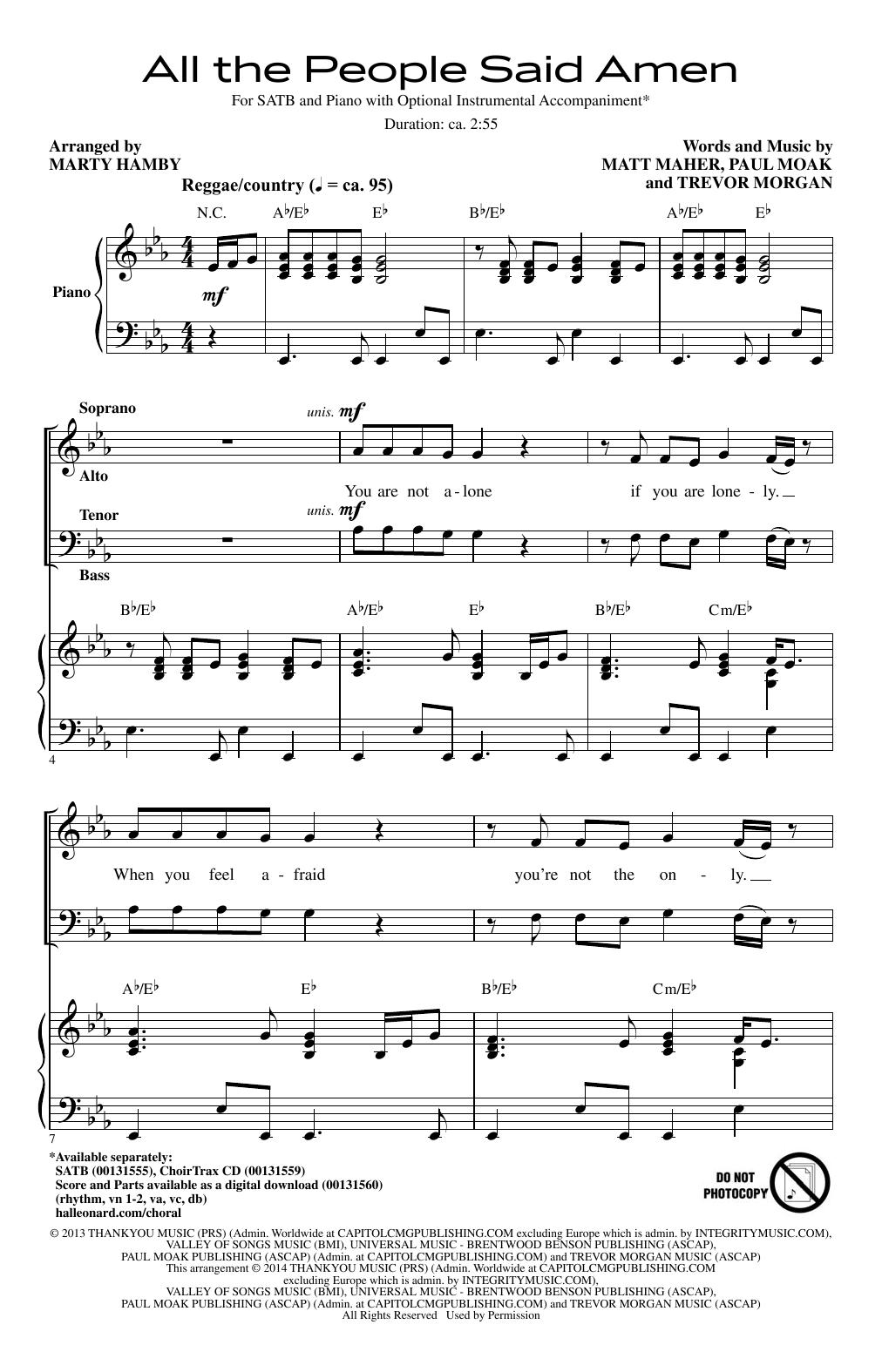 Sheet music digital files to print licensed trevor morgan all the people said amen hexwebz Images