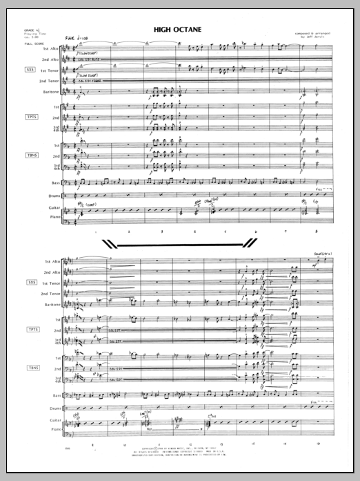 High Octane (COMPLETE) sheet music for jazz band by Jeff Jarvis