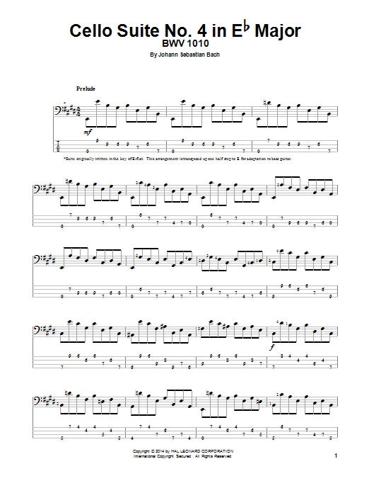 Tablature guitare Cello Suite No. 4 In E-Flat Major, BWV 1010 de J.S. Bach - Tablature Basse
