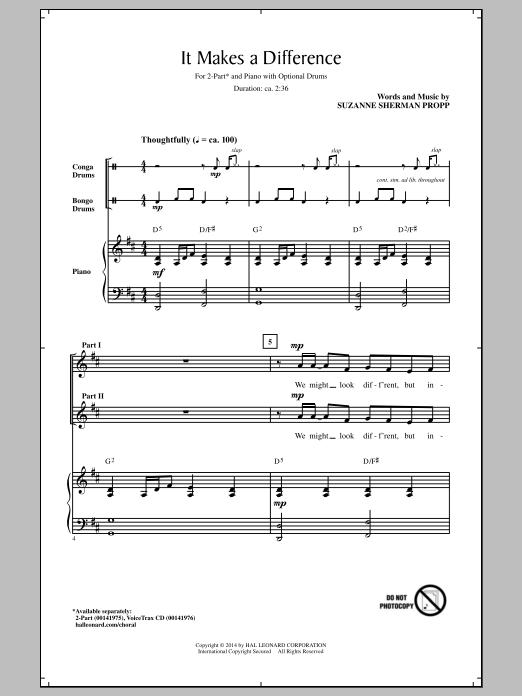 Partition chorale It Makes A Difference de Suzanne Sherman Propp - 2 voix