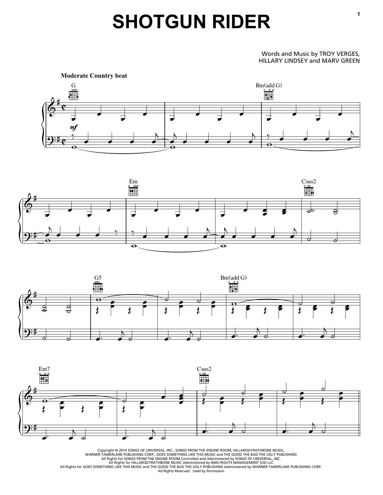 Partition piano Shotgun Rider de Tim McGraw - Piano Voix Guitare (Mélodie Main Droite)