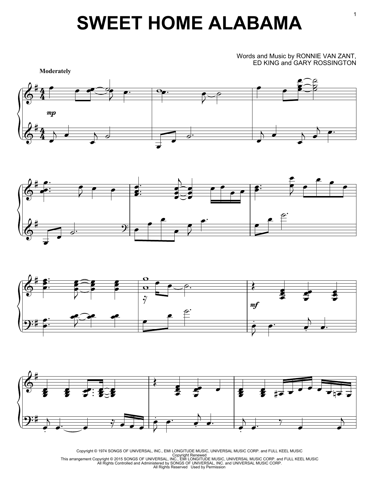 Partition piano Sweet Home Alabama de Lynyrd Skynyrd - Piano Solo