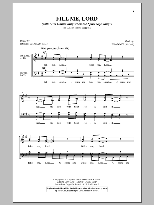 "Partition chorale Fill Me, Lord (With ""I'm Gonna Sing When The Spirit Says Sing"") de Joseph Graham - SATB"