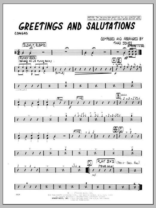 Sheet music digital files to print licensed jazz ensemble digital greetings and salutations congas m4hsunfo