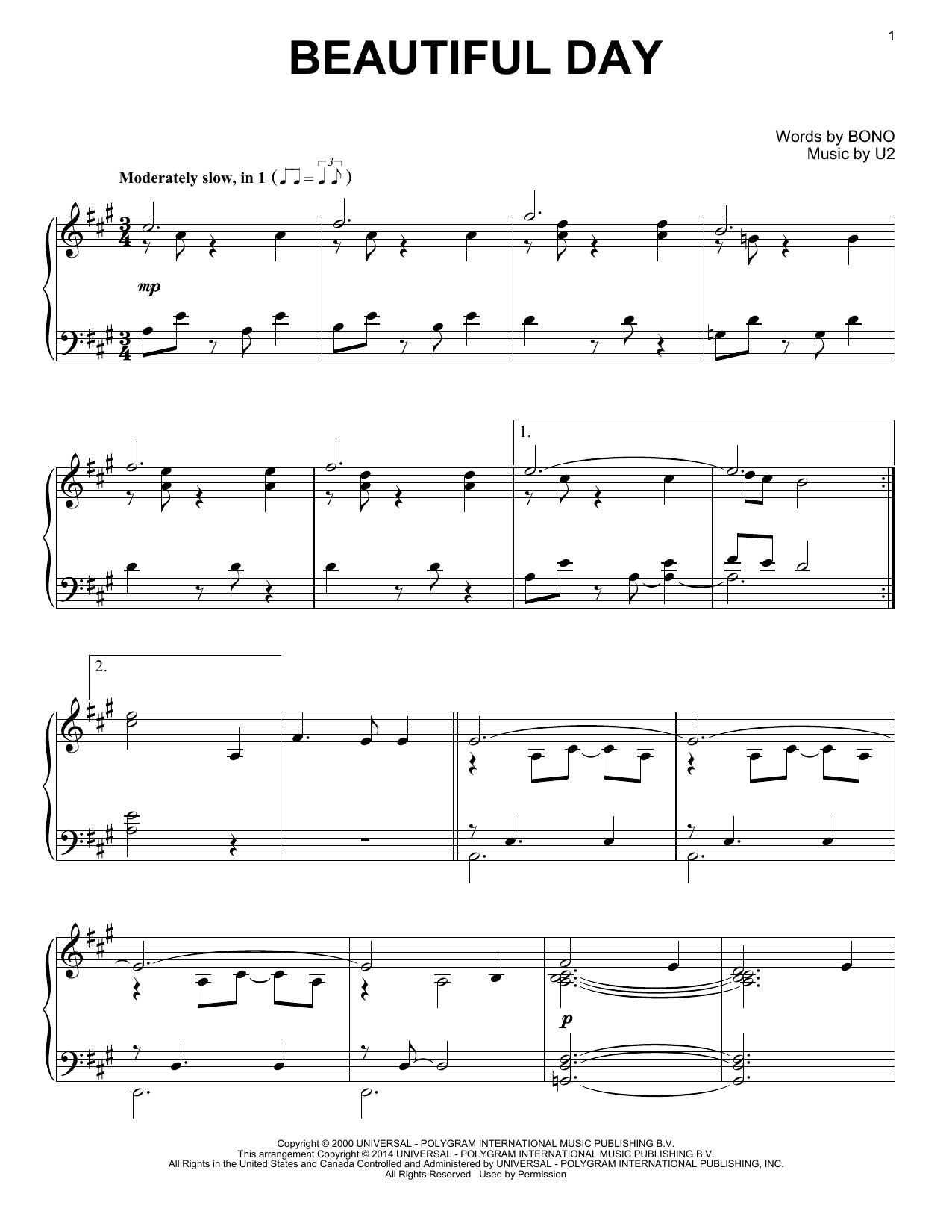 Partition piano Beautiful Day de U2 - Piano Solo