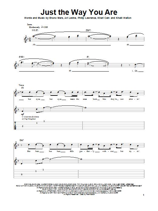 Tablature guitare Just The Way You Are de Bruno Mars - Tablature Guitare