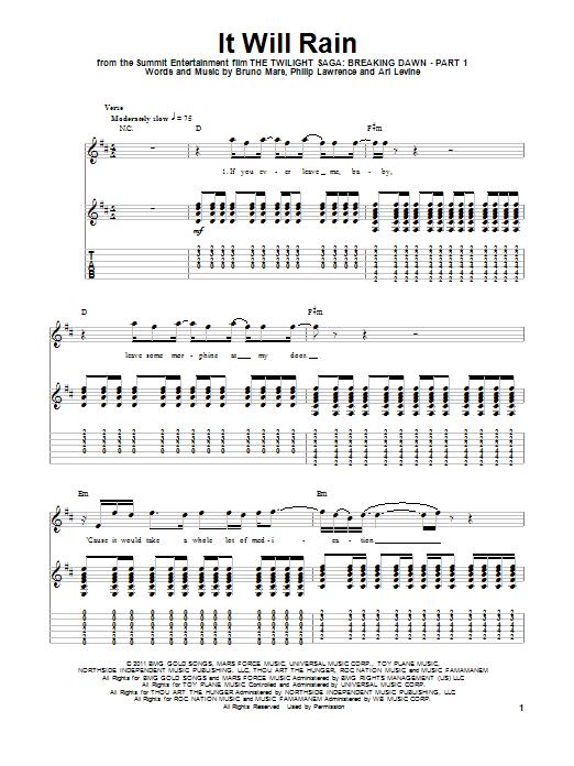 Tablature guitare It Will Rain de Bruno Mars - Tablature Guitare