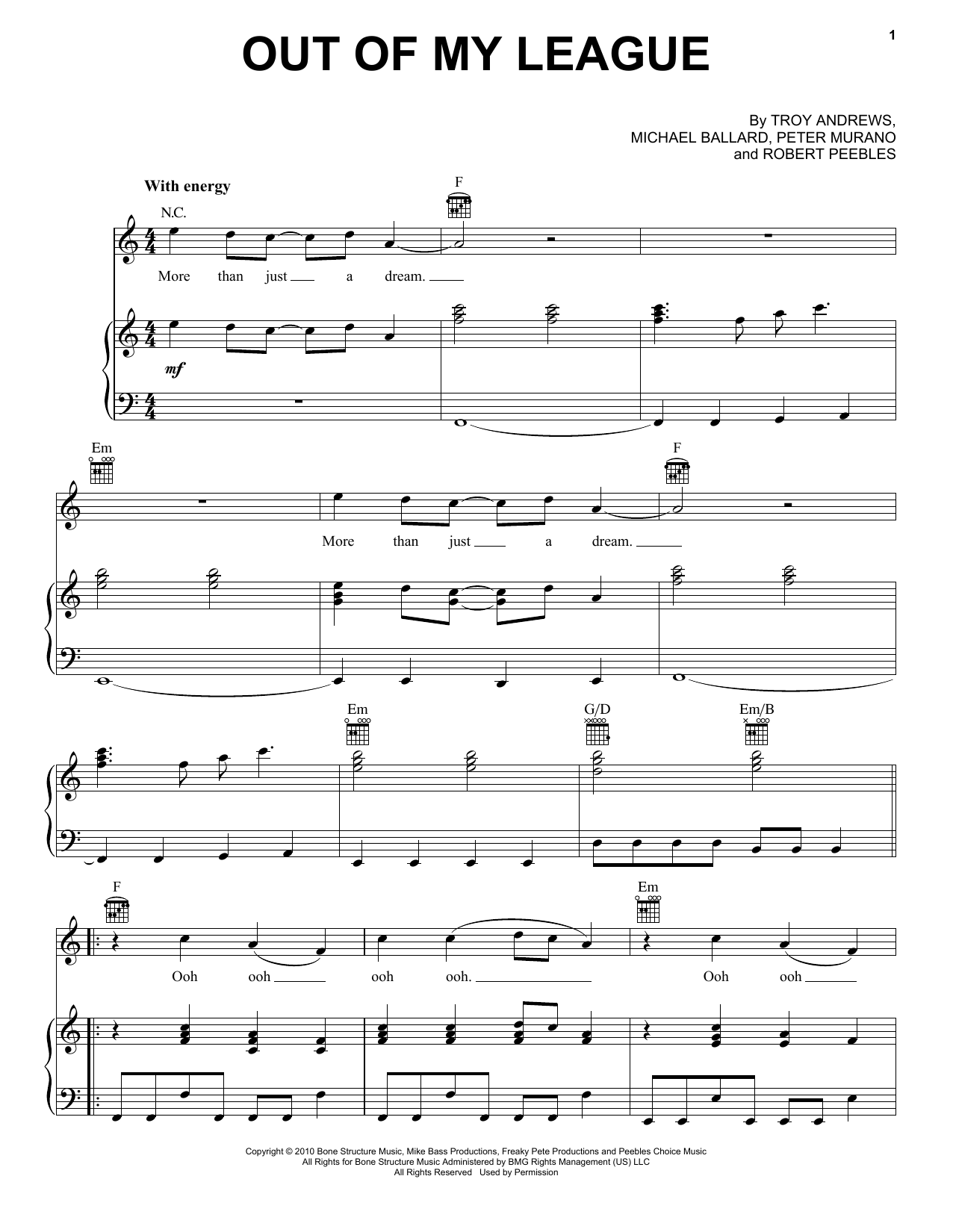 Partition piano Out Of My League de Fitz And The Tantrums - Piano Voix Guitare (Mélodie Main Droite)