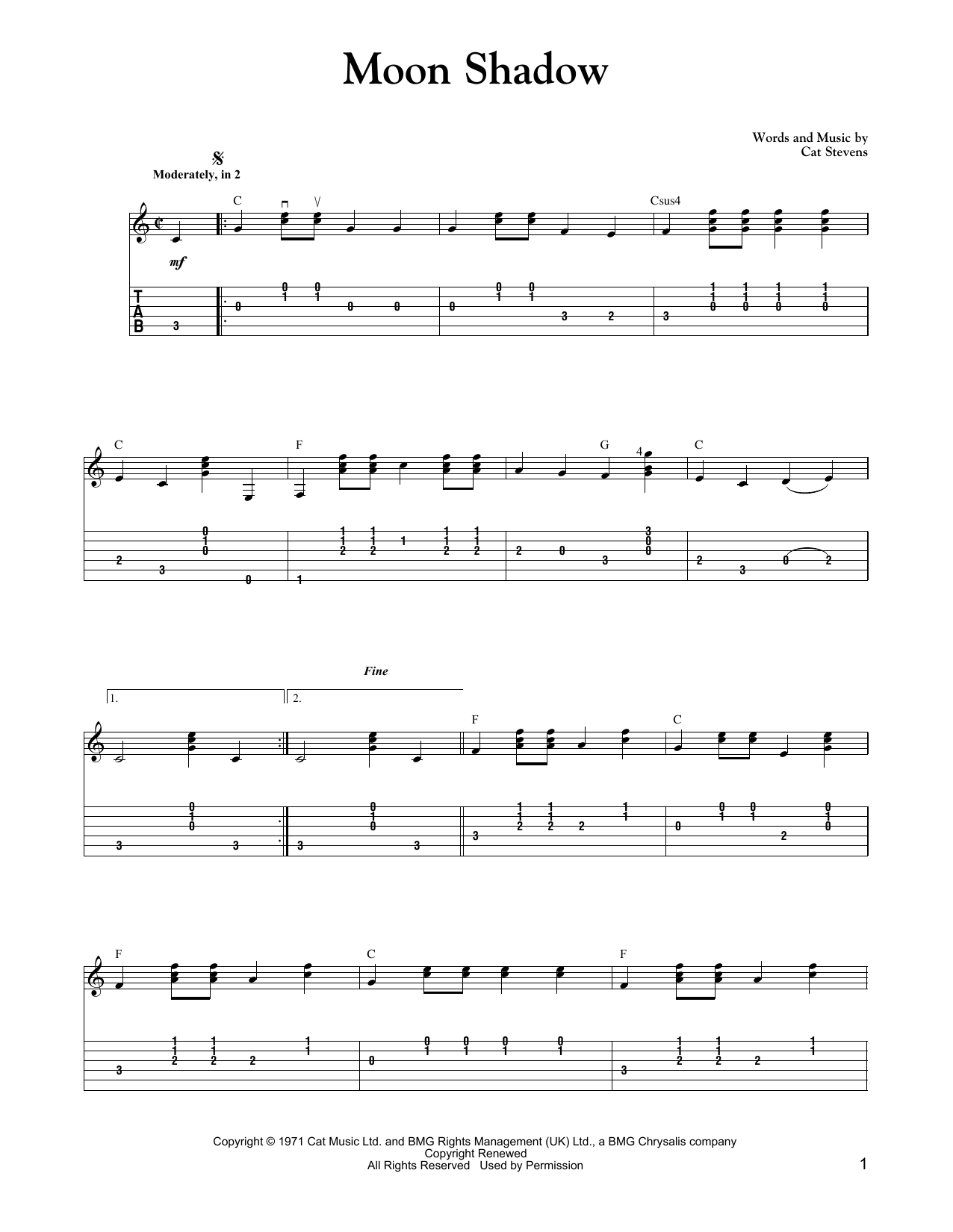 Tablature guitare Moon Shadow de Cat Stevens - Tablature Guitare