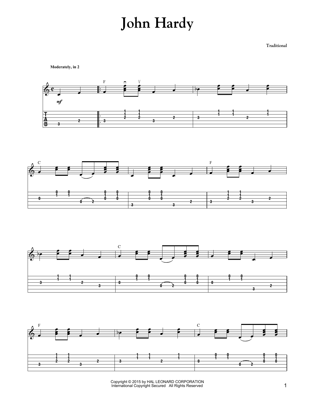 Tablature guitare John Hardy de The Carter Family - Tablature Guitare